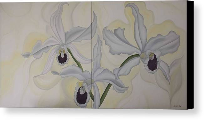 Marinella Owens Canvas Print featuring the painting Lealia Purpurata  Orchide by Marinella Owens