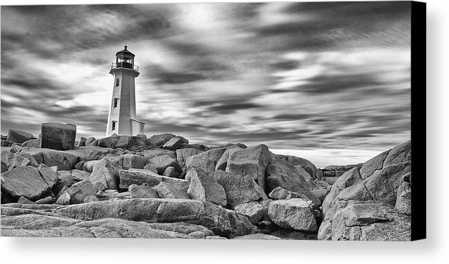 Canada Canvas Print featuring the photograph Lighthouse Peggys Cove - Black And White by Andre Distel