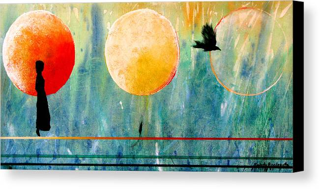 Raven Canvas Print featuring the painting Memories Of Lenore by Sandy Applegate