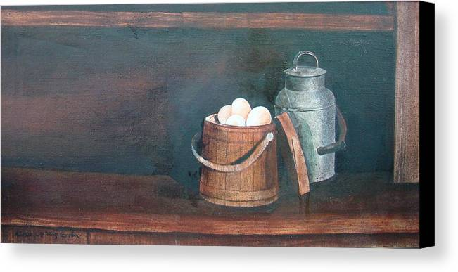 Milk Canvas Print featuring the painting Milk And Eggs by Charles Roy Smith