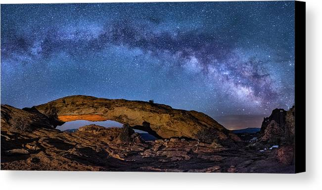 Utah Canvas Print featuring the photograph Milky Way Over Mesa Arch by Michael Ash