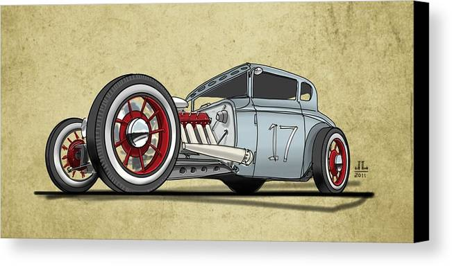 Hot Rod Canvas Print featuring the drawing No.17 by Jeremy Lacy