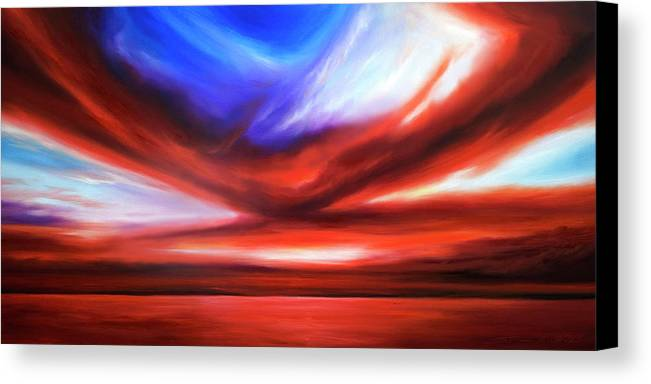 Sunrise; Sunset; Power; Glory; Cloudscape; Skyscape; Purple; Red; Blue; Stunning; Landscape; James C. Hill; James Christopher Hill; Jameshillgallery.com; Ocean; Lakes; Storm; Tornado; Lightning Canvas Print featuring the painting October Sky V by James Christopher Hill