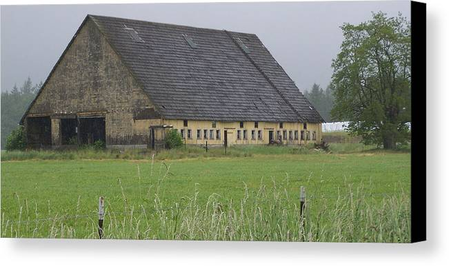 Barn Photography Canvas Print featuring the photograph Old Yellow Barn  Washington State by Laurie Kidd