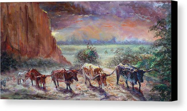 Cattle Canvas Print featuring the painting Open Range by Tommy Winn