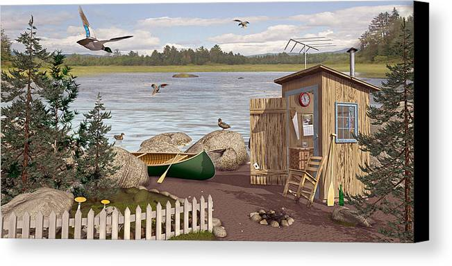 Outhouse Canvas Print featuring the painting Out Thayuh by Peter J Sucy