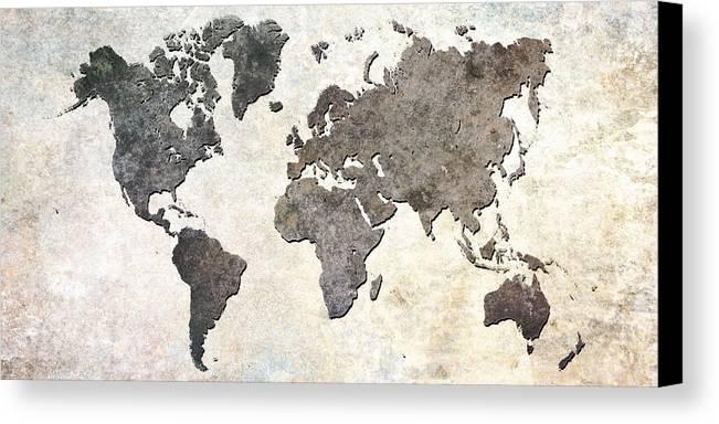 Parchment Canvas Print featuring the digital art Parchment World Map by Douglas Pittman