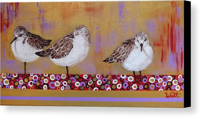 Sandpipers Canvas Print featuring the painting Sandpipers On The Emerald Coast by Tammy Watt