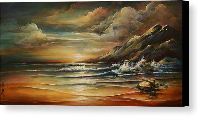 Seascape Canvas Print featuring the painting Seascape 3 by Michael Lang