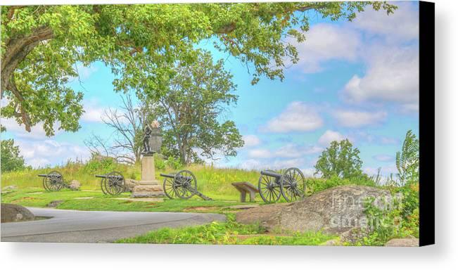 Smith�s Battery Devil�s Den Gettysburg Canvas Print featuring the digital art Smiths Battery Devils Den Gettysburg by Randy Steele