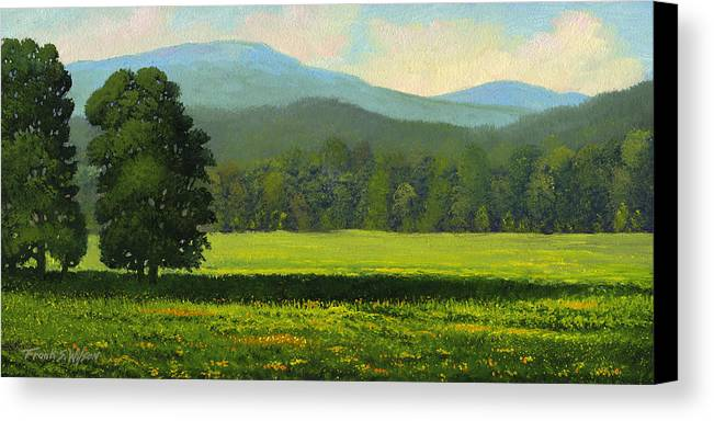 Landscape Canvas Print featuring the painting Spring Flowers by Frank Wilson