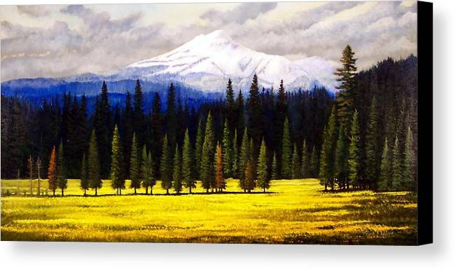 Landscape Canvas Print featuring the painting Spring Meadow Mount Brokeoff by Frank Wilson