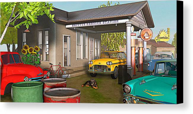 Antique Cars Canvas Print featuring the photograph Sunrise At Smittys by Peter J Sucy