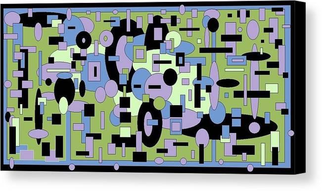 Digital Black Green Artwork Canvas Print featuring the digital art The Field by Jordana Sands