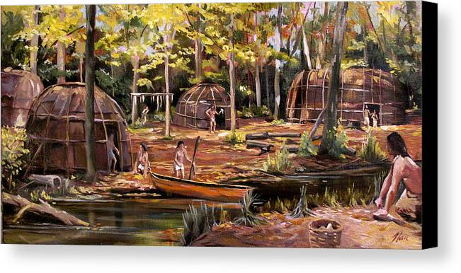 Institute Of American Indian Canvas Print featuring the painting The Pequots by Nancy Griswold