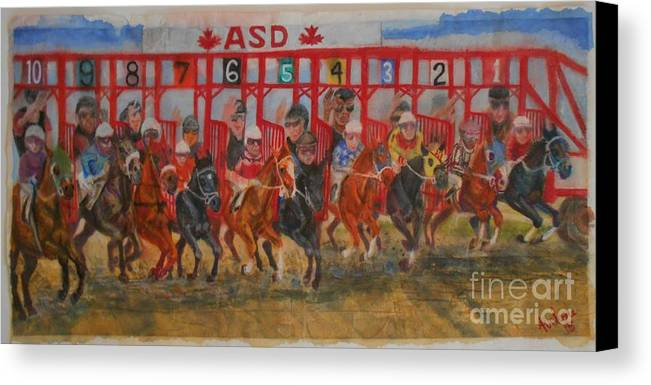 Horse Racing Art Canvas Print featuring the painting The Ringing Red Gates by Abelone Petersen