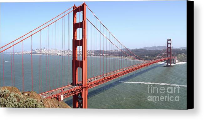 Wingsdomain Canvas Print featuring the photograph The San Francisco Golden Gate Bridge 7d14507 Panoramic by Wingsdomain Art and Photography
