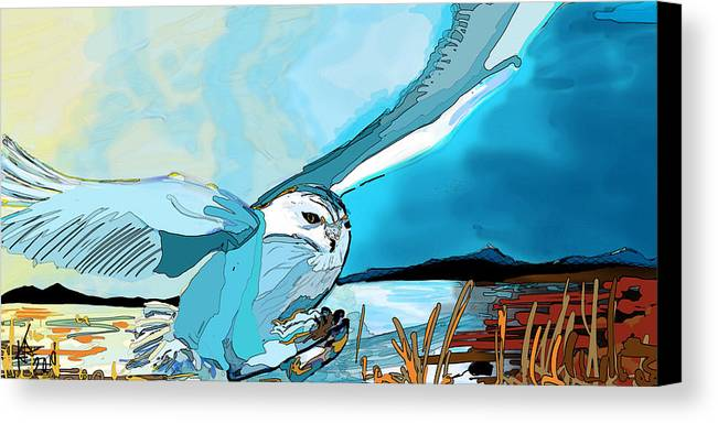 Owl Snow Hunt Mouse Harfan Neige Artcitc Abstract Blue Spring Flying Cold Canvas Print featuring the digital art The White Sage's Hunt by Katerina Sedivy