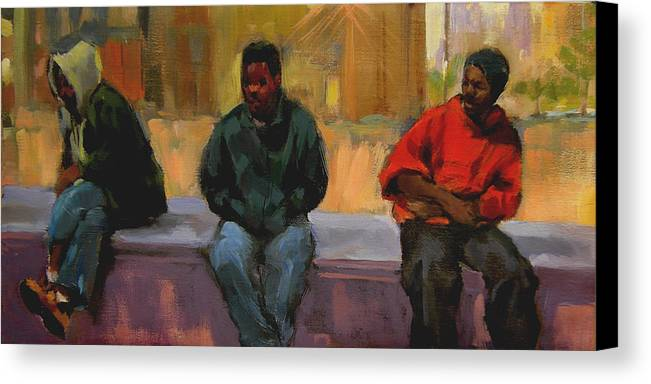 Figurative Canvas Print featuring the painting Three Africans by Merle Keller