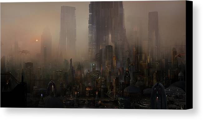 Future City Canvas Print featuring the painting Utherworlds Cohabitations by Philip Straub