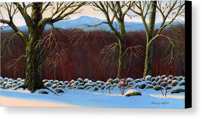Landscape Canvas Print featuring the painting Vermont Stone Wall by Frank Wilson
