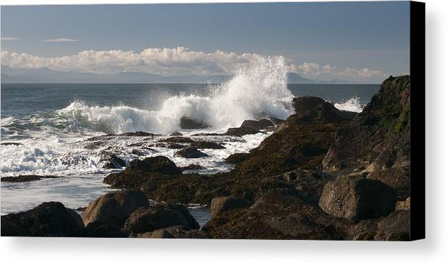 Waves Canvas Print featuring the photograph Waves Crashing by Chad Davis