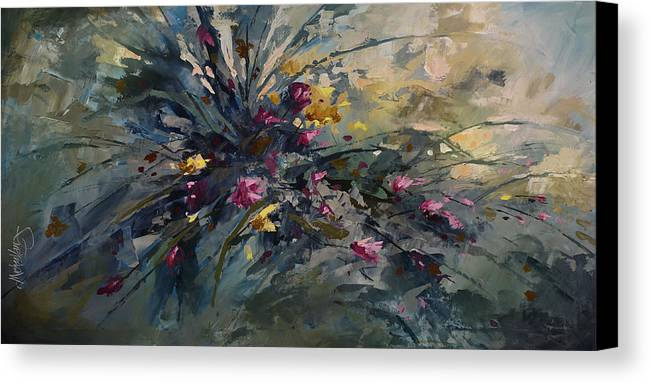 Flowers Canvas Print featuring the painting 'wild Flowers' by Michael Lang