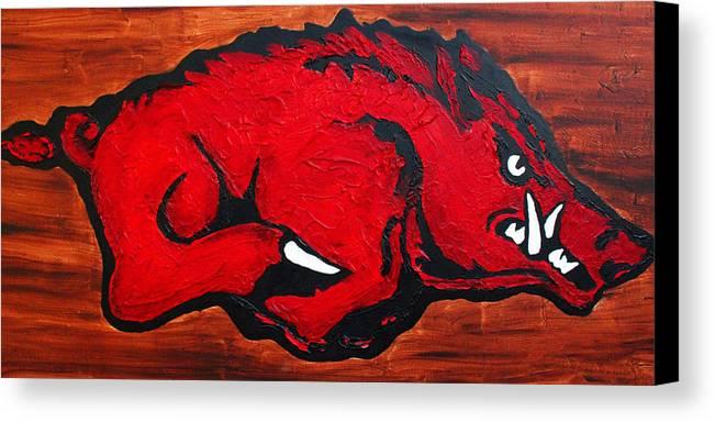 Arkansas Razorbacks Canvas Print featuring the painting Woo Pig Sooie by Laura Grisham