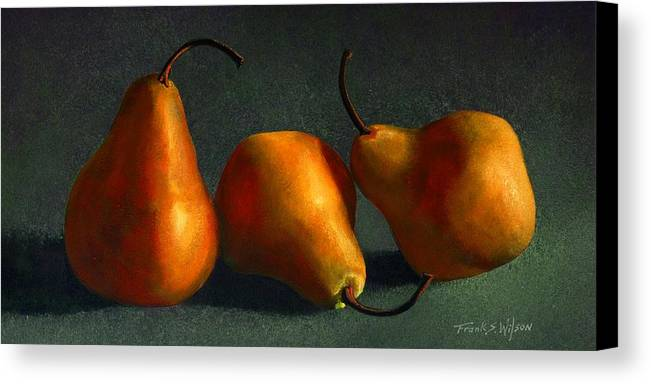 Still Life Canvas Print featuring the painting Yellow Pears by Frank Wilson