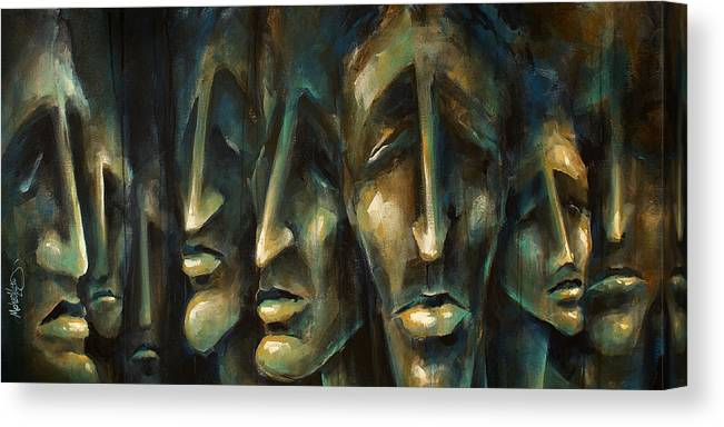 Expressionist Canvas Print featuring the painting ' Jury Of Eight ' by Michael Lang