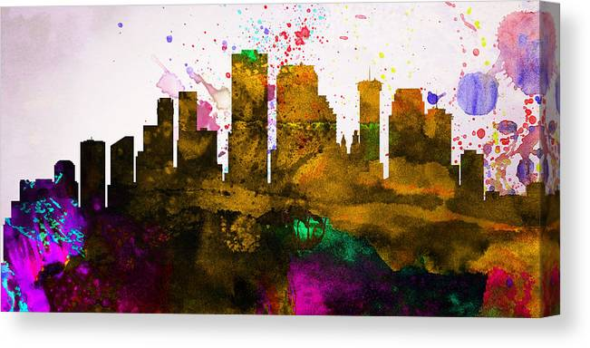 Canvas Print featuring the painting New Orleans City Skyline by Naxart Studio