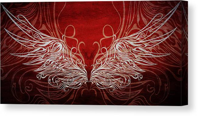 Wing Canvas Print featuring the digital art Angel Wings Crimson by Angelina Tamez