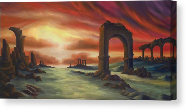Sunset Canvas Print featuring the painting Another Fallen Empire by James Christopher Hill