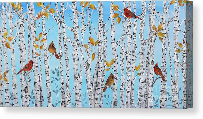 Acrylic Canvas Print featuring the painting Cardinals Among The Birch-jp2061 by Jean Plout
