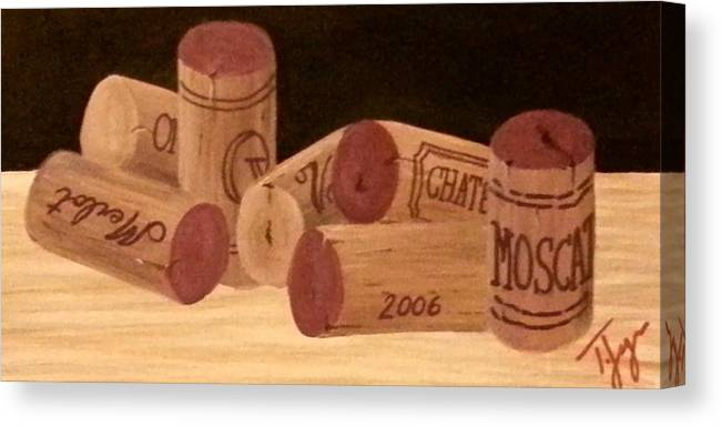 Wine Canvas Print featuring the painting Corks by Tracie Jorgensen