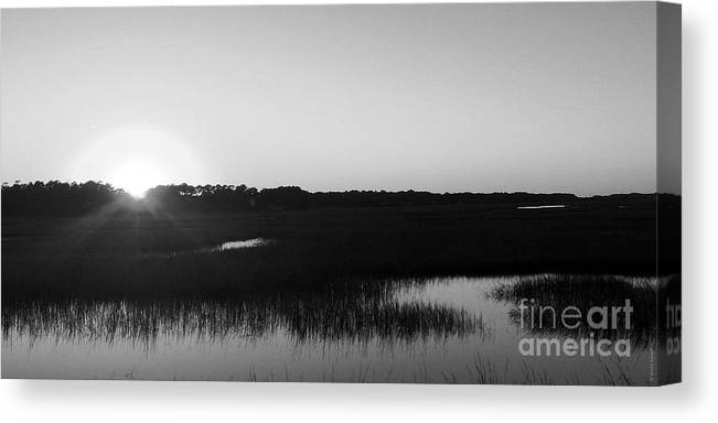 Art Canvas Print featuring the photograph Icw Sunset In Black And White by Shelia Kempf