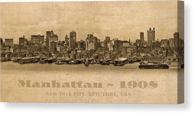 Manhattan Canvas Print featuring the mixed media Manhattan Island New York City Usa Postcard 1908 Waterfront And Skyscrapers by Design Turnpike