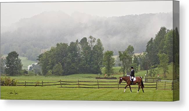 Dressage Canvas Print featuring the photograph Misty Morning Ride by Joan Davis