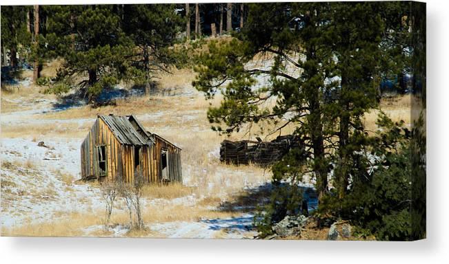 Dakota Canvas Print featuring the photograph Rustic Cabin In The Pines by Dakota Light Photography By Dakota