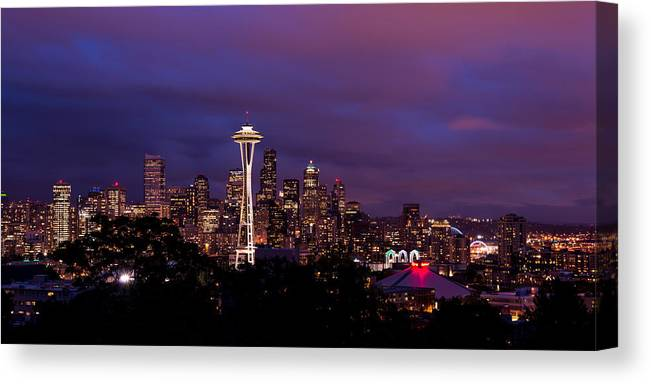 Seattle Canvas Print featuring the photograph Seattle Night by Chad Dutson