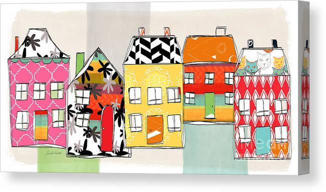 Houses Canvas Print featuring the mixed media Spirit House Row by Linda Woods