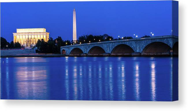 Photography Canvas Print featuring the photograph Washington D.c. - Memorial Bridge by Panoramic Images