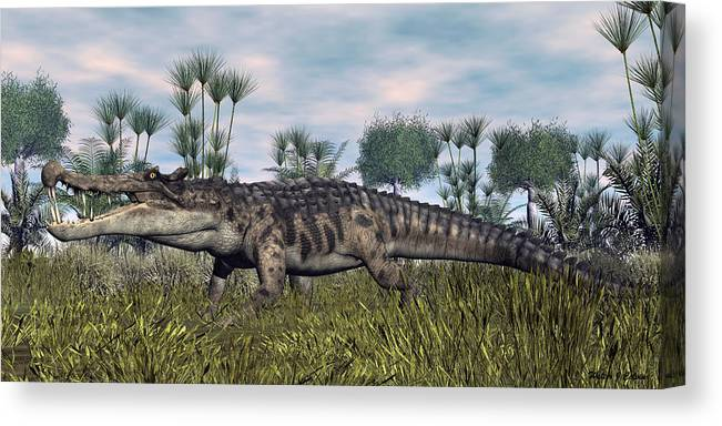 Kaprosuchus Canvas Print featuring the digital art Kaprosuchus by Walter Colvin