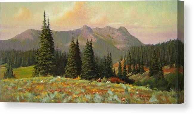 Landscape Canvas Print featuring the painting 060815-1224 Late Summer Flowers by Kenneth Shanika