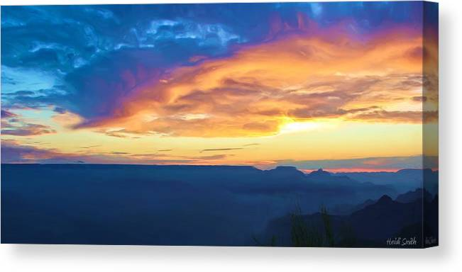 Grand Canyon Canvas Print featuring the photograph Here Comes The Sun by Heidi Smith
