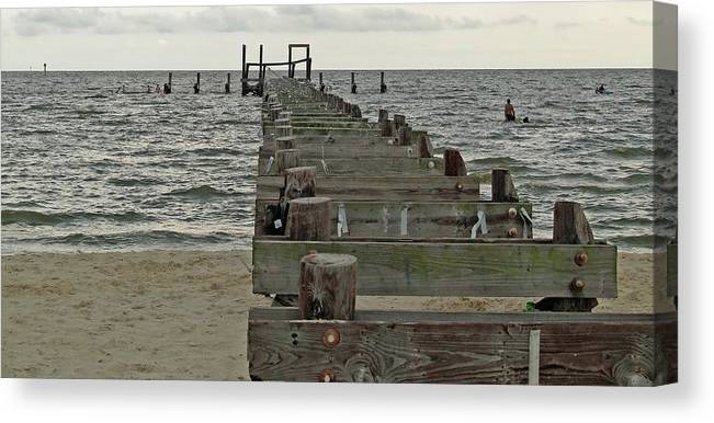 Pier Canvas Print featuring the photograph A Walk Into The Gulf by Diane Luke