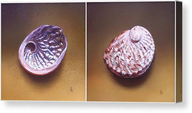 Shell Canvas Print featuring the painting Abalone Shell by Elena Kolotusha