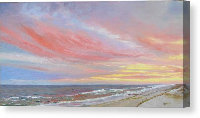 Seascape Canvas Print featuring the painting Alberta's Sunset by Lea Novak