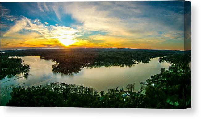 Beautiful Canvas Print featuring the photograph Beautiful Sunset Over Lake Wylie South Carolina by Alex Grichenko