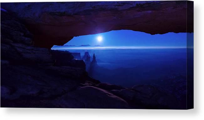 Mesa Arch Canvas Print featuring the photograph Blue Mesa Arch by Chad Dutson